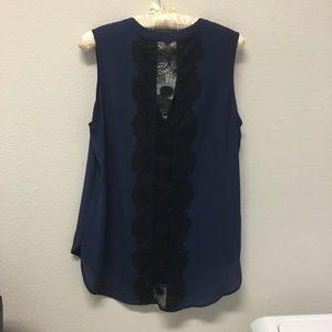 Pleione Sleeveless Blouse Navy w/ Black Lace